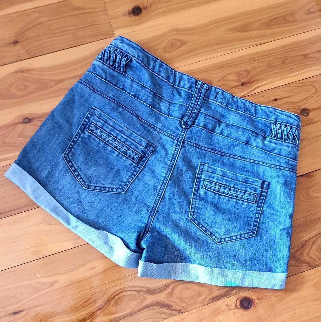 Women's size 12 'MISS SHOP' Gorgeous blue denim shorts, some paint marks