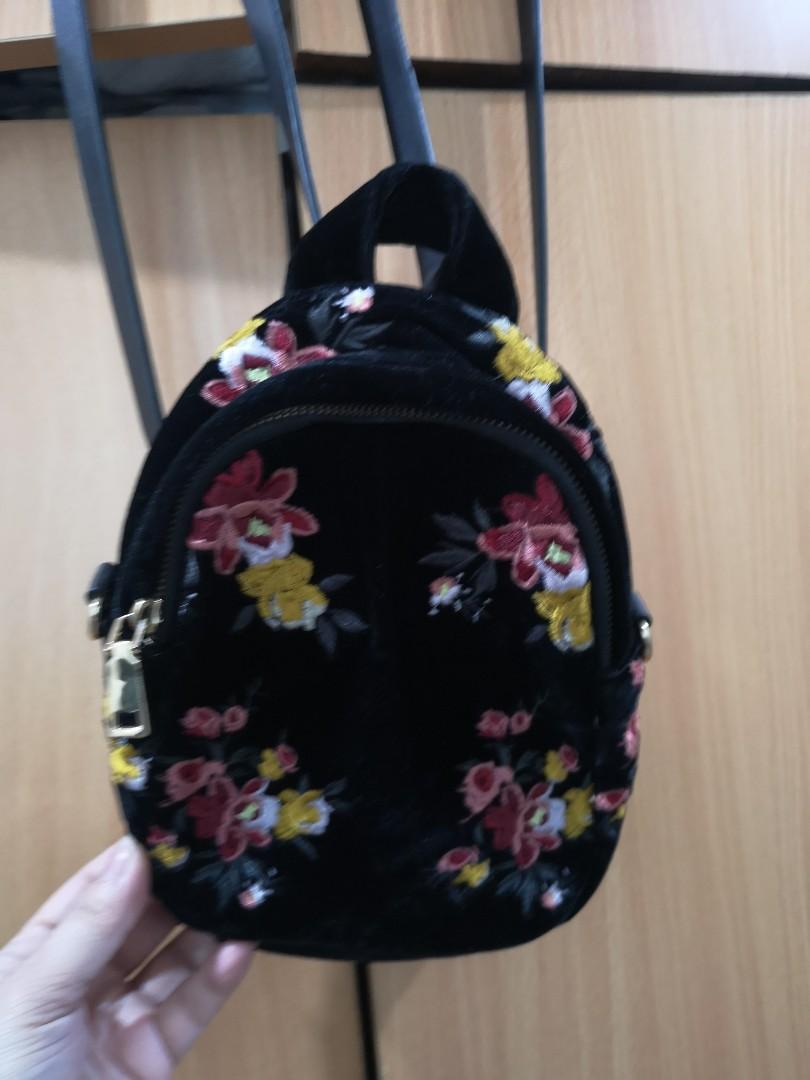 ZARA Floral mini backpack on Carousell