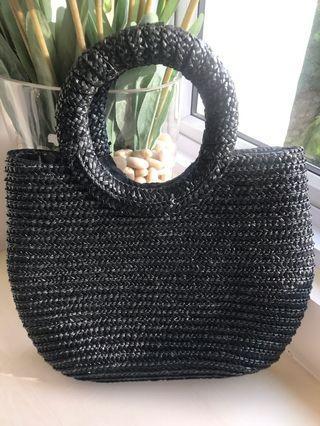 Black Weave Black Bag