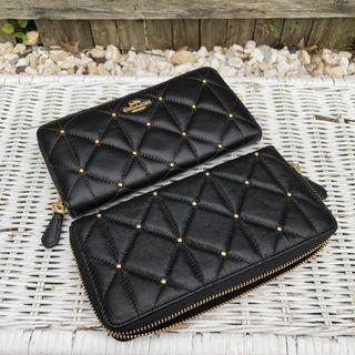 💯ORIGINAL Coach Quilted Leather Accordion ZA Wallet in Black