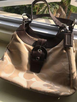 Coach beige fabric handbag
