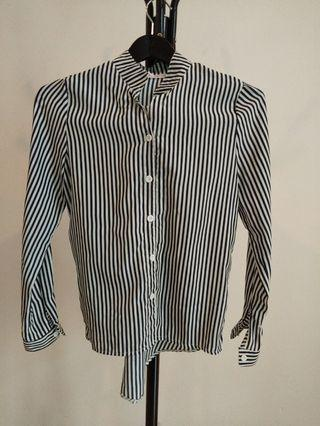 Black and white stripe Chiffon Office Top