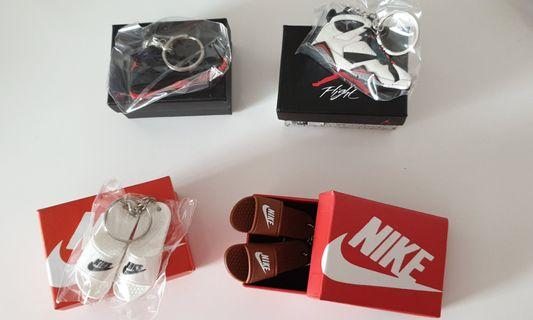 Mini sized nike shoes keychains and air jordan