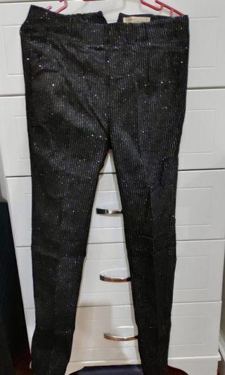 Black stripe pants with glitter effect