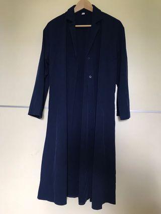 深藍色長版襯衫洋裝 附腰帶