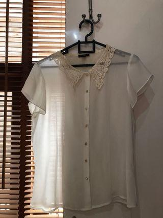 White Blouse Lace Collar