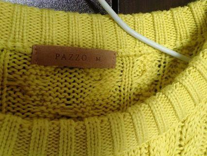 PAZZO亮黃色麻花針織毛衣M