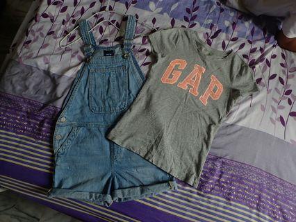 二手GAP牛仔吊帶褲M+灰色GAP亮片短T130