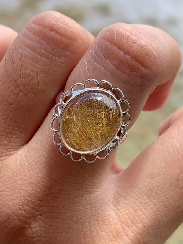 925 silver ring with natural stone