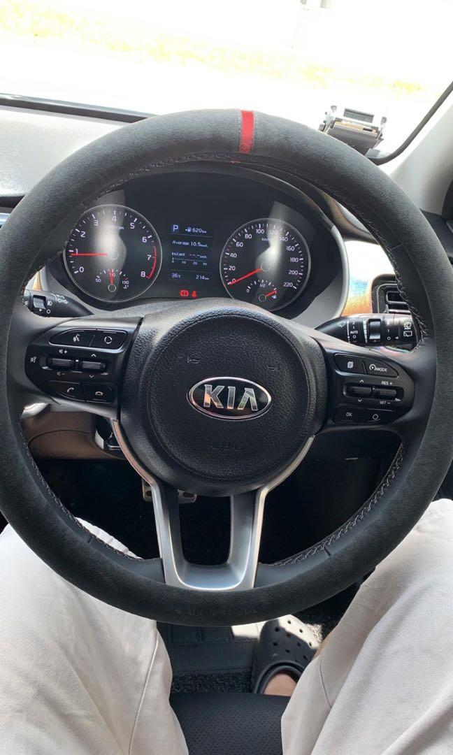 Italian Leather Steering Wheel Cover fit KIA