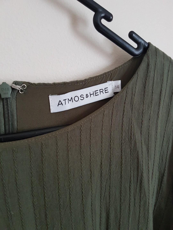 Atmos & Here Cotton Ruffle Dress in Khaki - Size 14