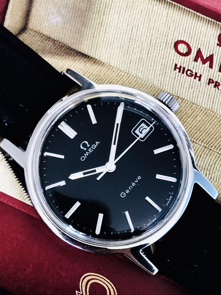 Authentic Omega Geneve Date Black Dial (34.8mm) Manual Winding Cal 613, 17J, Serial 33727579, Ref 1360088, Good Working & Perfect Condition!!