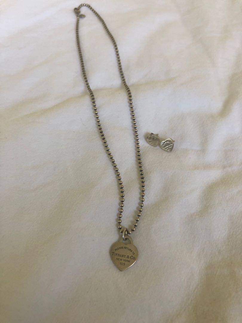 Authentic Return to Tiffany silver necklace and earrings