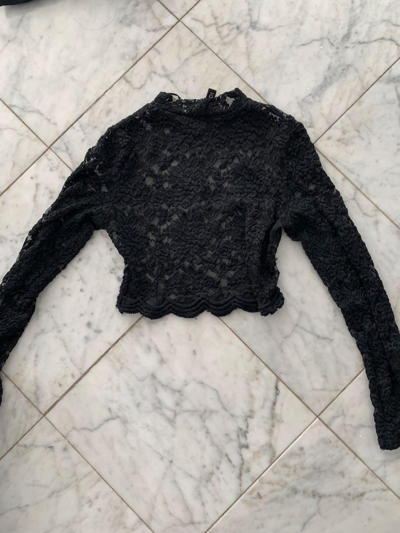 Black lace high neck cropped long sleeve top size XS
