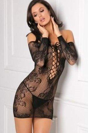Black Lace Up Stretch Bodystocking Dress Boxed by Rene Rofe OS