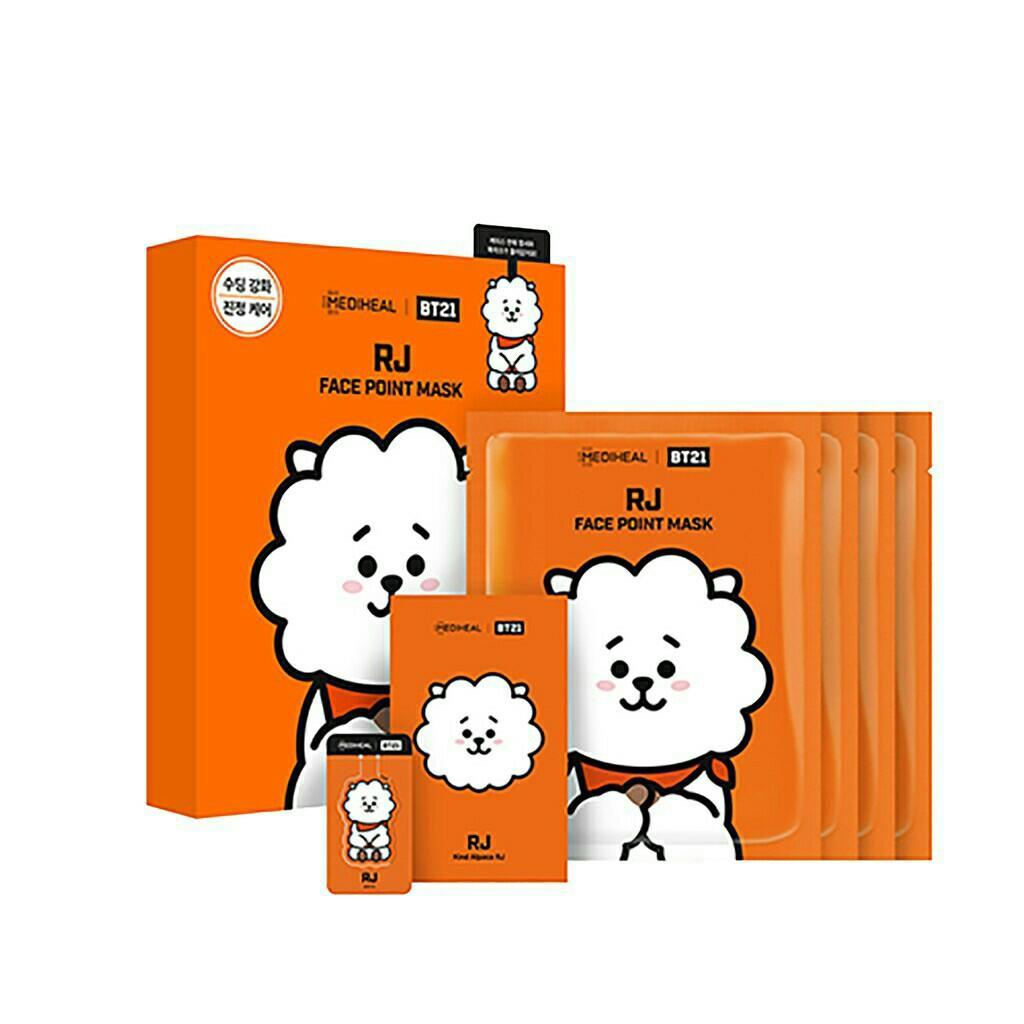 (4+1+1) MediHeal X BTS BT21 Korean Facial Point Mask Face Sheet +bookmark+postcard