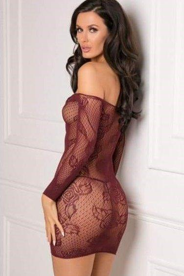 Burgundy Lace Up Stretch Bodystocking Dress Boxed by Rene Rofe OS