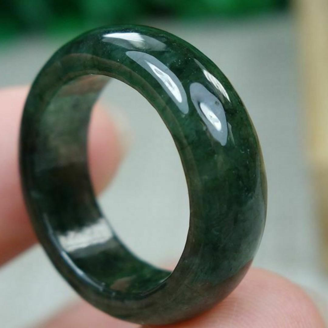 Certified Green 100% Natural A jadeite jade Ring 戒指 5.9#