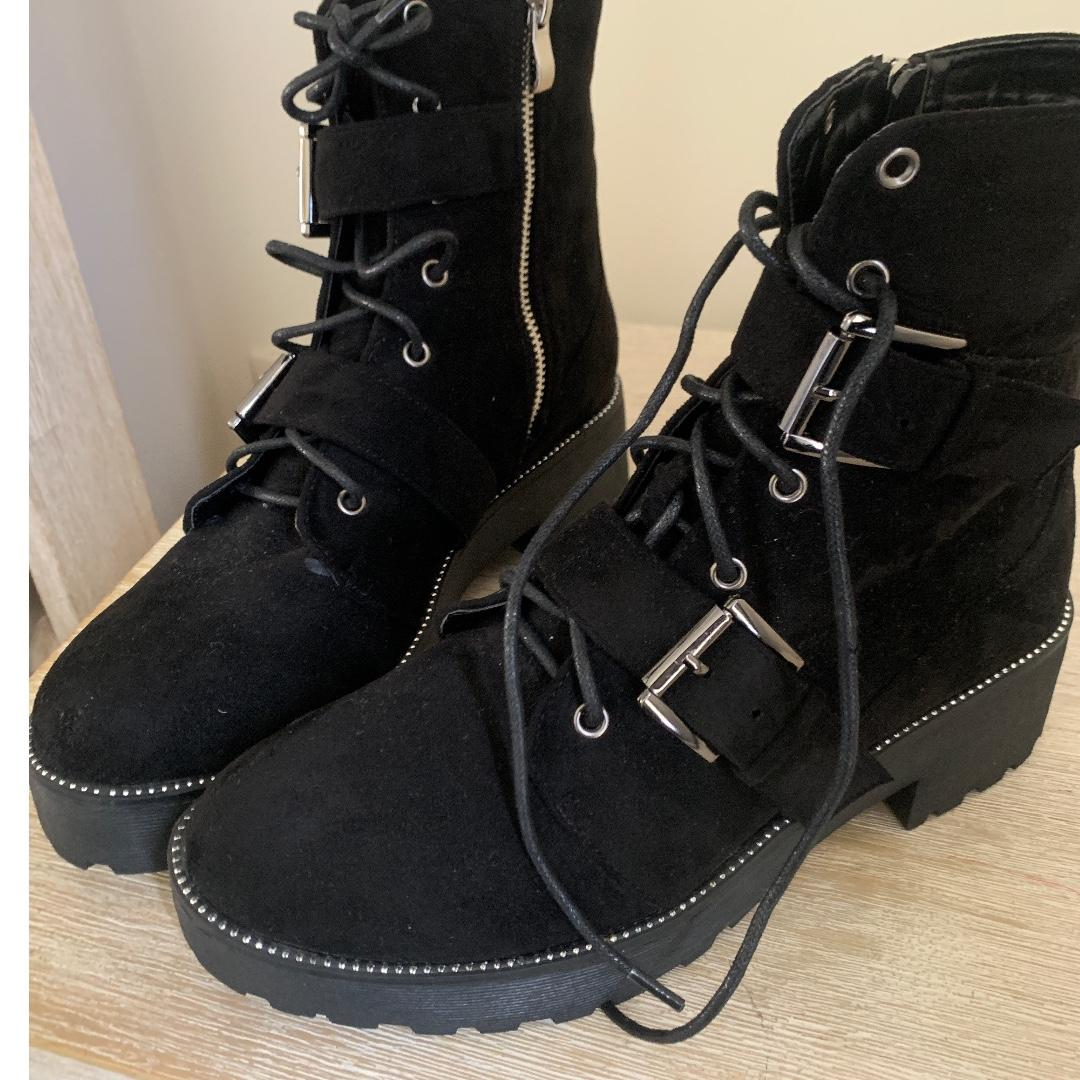 CHUNKY STUDDED COMBAT HIKER BOOTS - gunmetal and black