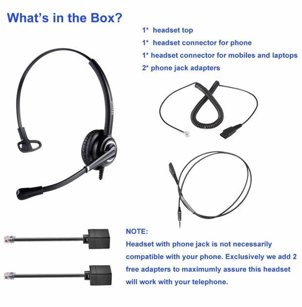 Corded RJ9 Telephone Headset with Noise Cancelling