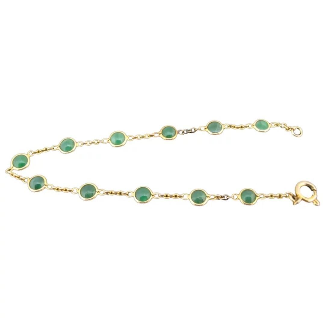 DAINTY Vintage 14k Yellow Gold & Green JADE Chain Bracelet