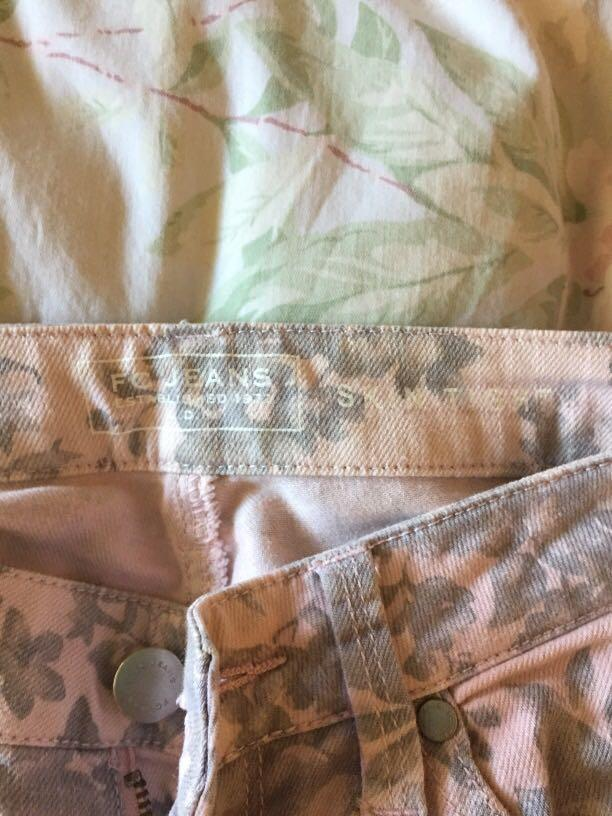 French Connection pink and grey floral jeans size AU 6