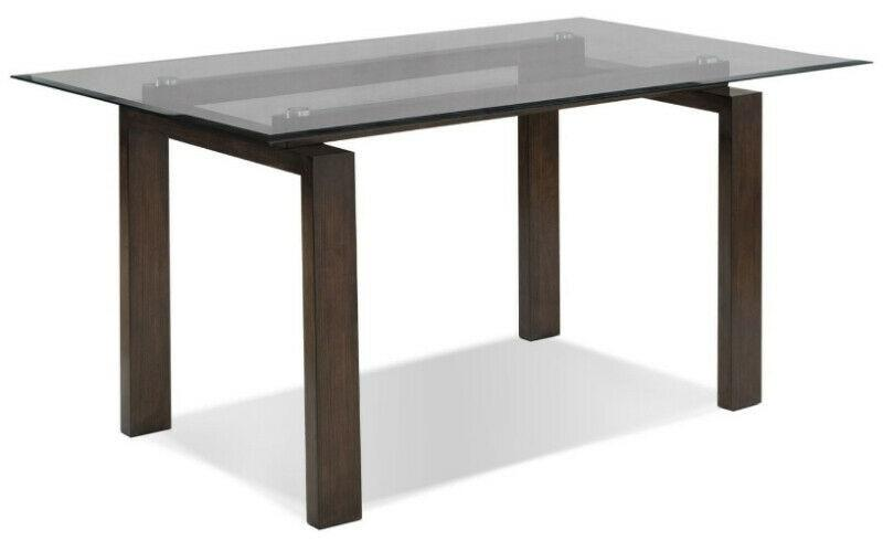Glass Dining Table (BRAND NEW In Box) w/ Dark Wood Legs