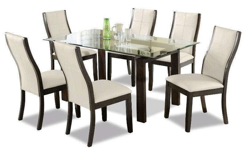 Glass Dining Table (BRAND NEW In Box) w/ Dark Wood Legs