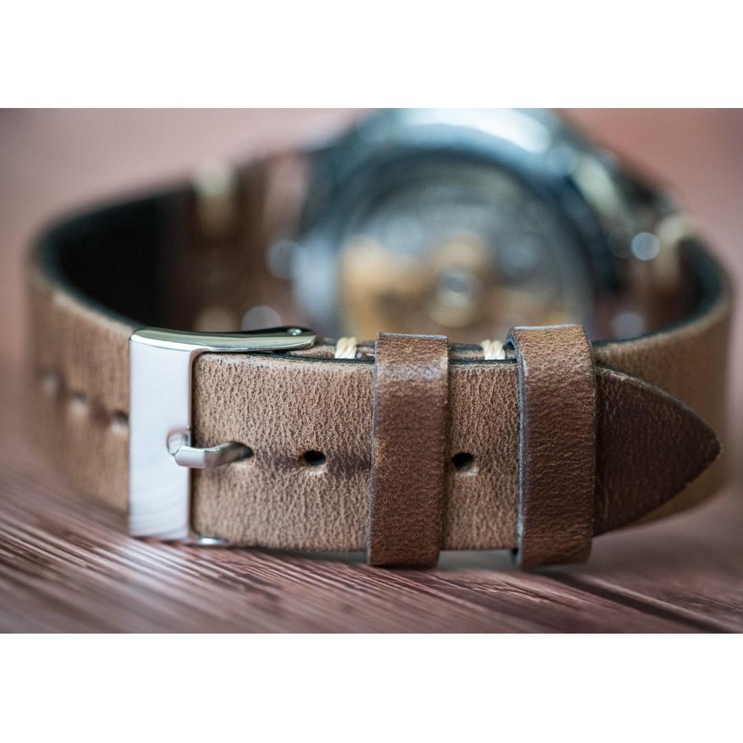 Horween Chromexcel Side Stitch Watch Strap - Delugs
