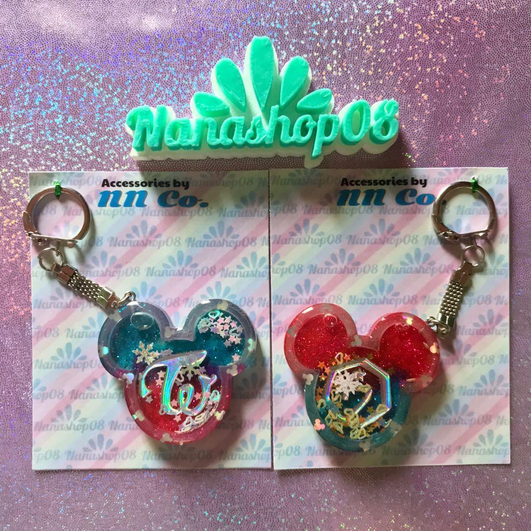 Keychain / Keyring / Gantungan Kunci Kpop Glitter Twice Got7 bentuk Mickey