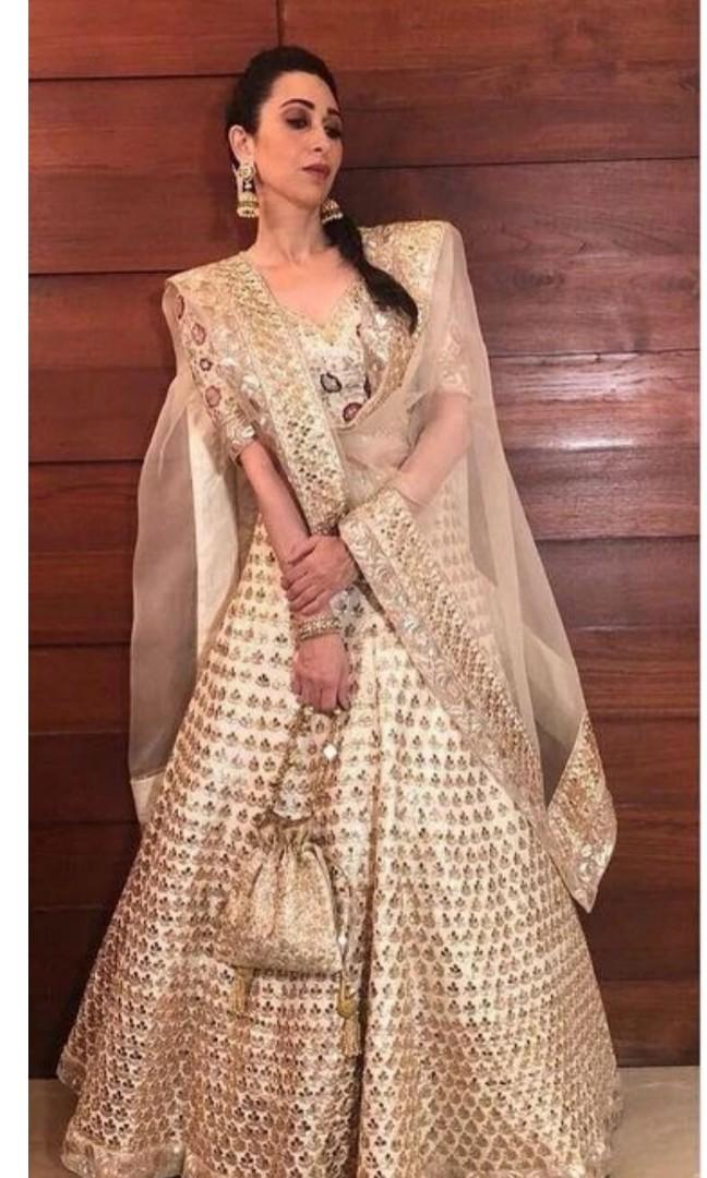 Latest Indian Wedding Wear And Party Wear Cream Color Lahenga