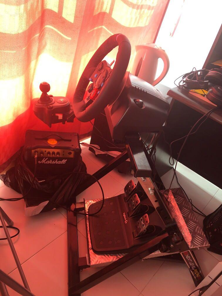 Logitech G29 wheel, Shifter, Pedals and Next Level Racing Stand