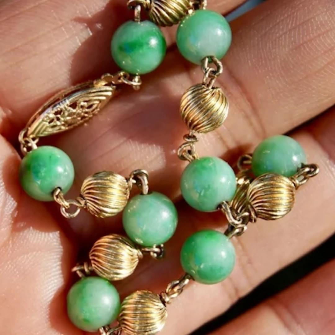 Natural Jadeite Jade 14K Gold Beads Bracelet 7 14 inches