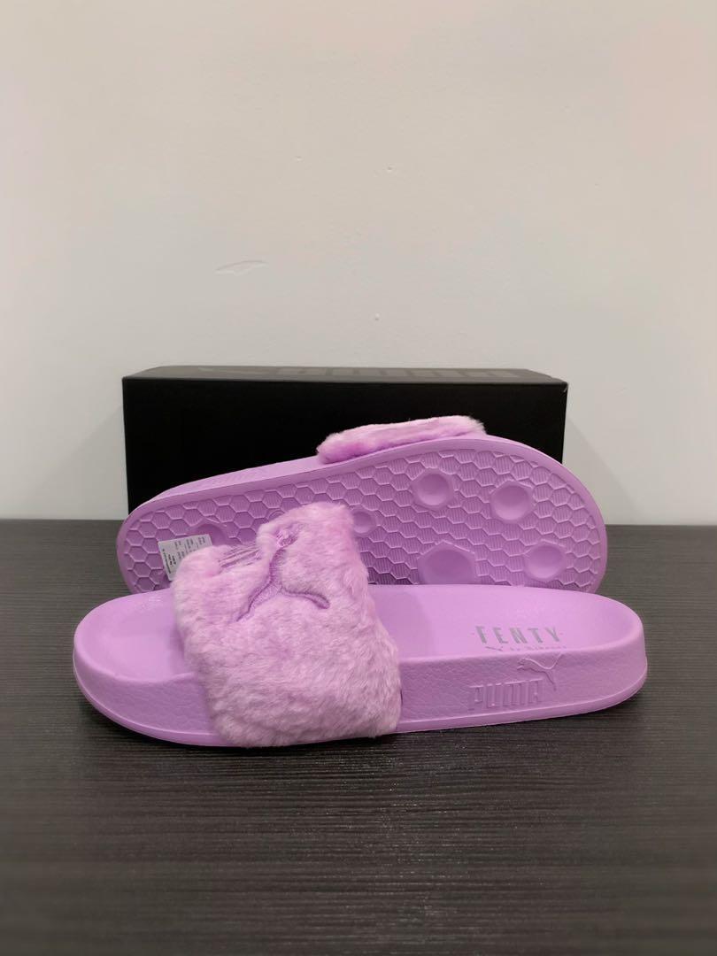 new concept 1a4b5 7af88 Puma Fenty Fur Slides (Purple) on Carousell