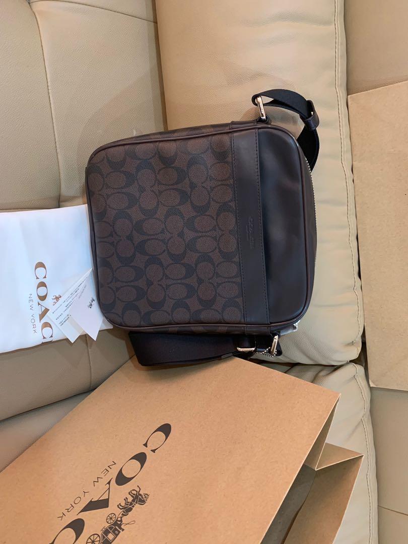 Ready Stock Authentic coach men messenger bag 54788 Crossbody flight bag