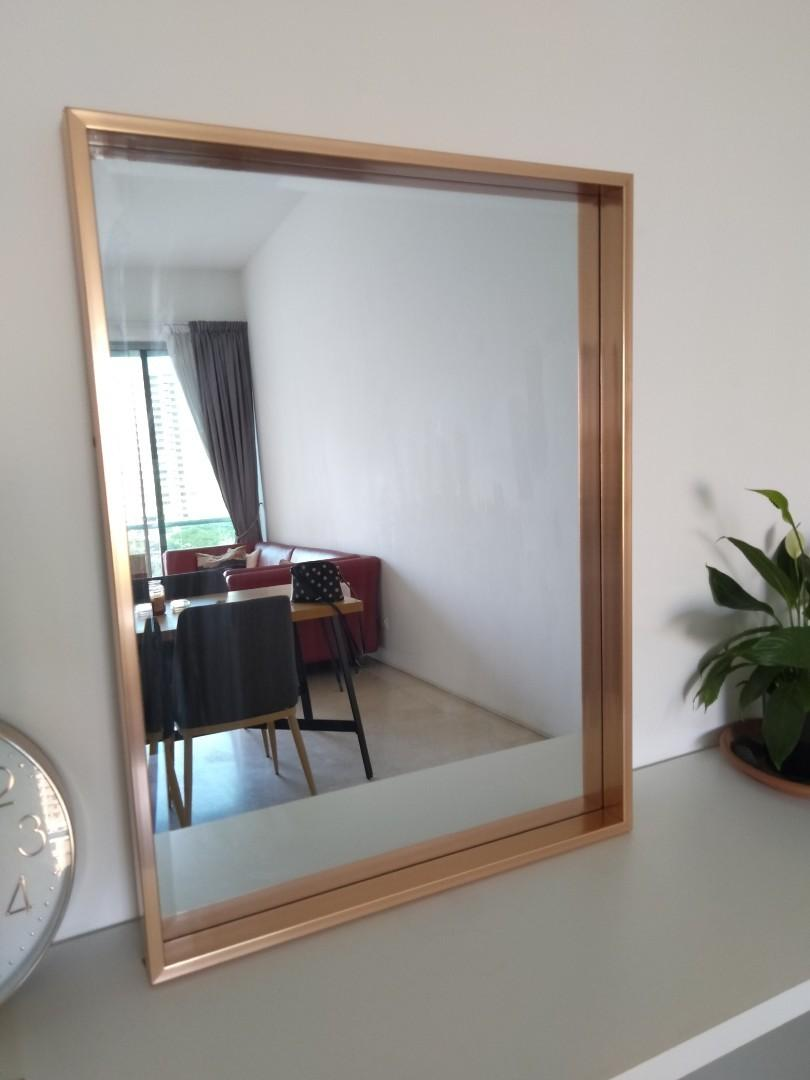 Wall Mirror With Rose Gold Frame Furniture Home Decor Others On Carousell
