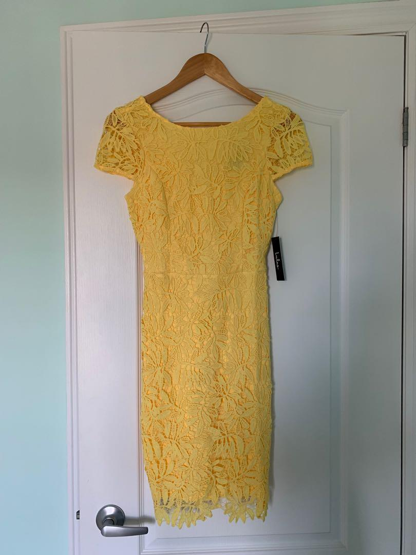 YELLOW LACE BODY CON DRESS | LULUS