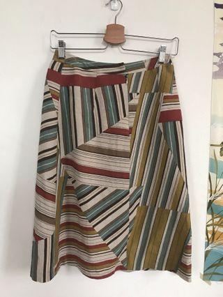 古著拼接條紋中長裙