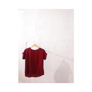 Red Satin Batwing Blouse