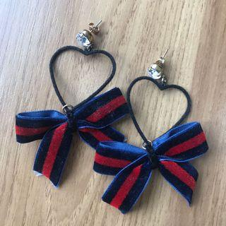 Korea Style Heart Earrings with Bow