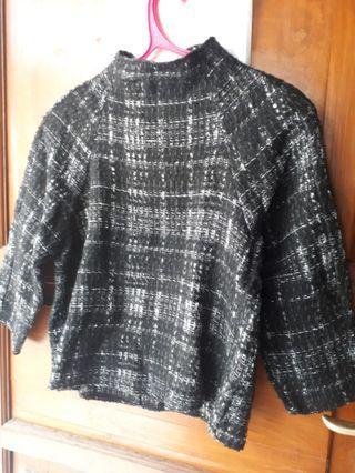 Zara tweed black and white