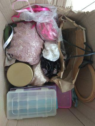 A box of sewing stuff and embellishments