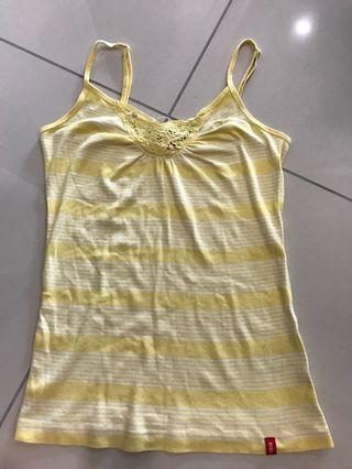 Esprit EDC yellow lacy spaghetti strap top