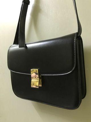 Sling Bag Leather (Black with Gold details)