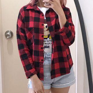Korean Black & Red Plaid Button-Up Flannel Shirt #1010