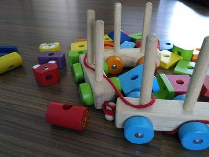 Train Wooden Toys with shapes and animals faces