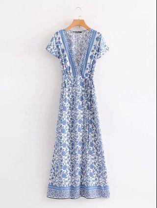 LOOKING FOR Blue Floral Porcelain Wrap Dress