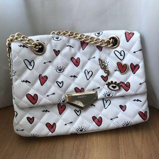 ALDO Gold Chain Hearts and Eyes White Handbag