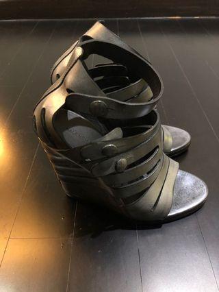 Balenciaga Strappy Wedges In metallic grey
