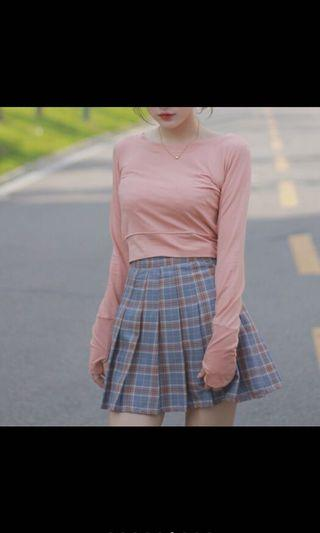 格子百摺裙-內含安全褲